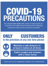 COVID 19 Precautions - Shop Window Sign